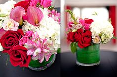 #wedding #centerpieces #pink #red #white #weddingflowers South Florida Wedding Flowers (954)236-9000 84 West Events