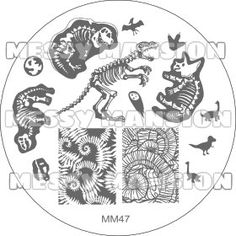 Nail Art Stamping Image Plate MM47 - Dinosaur Themed