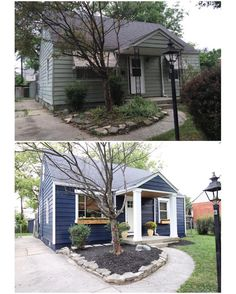 Before & After: Exterior #chesterfieldcottage. Paint SW Naval