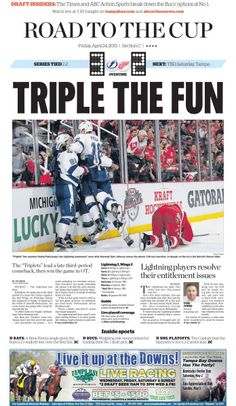 Front page of tampa bay times sports section captures tblightning ot