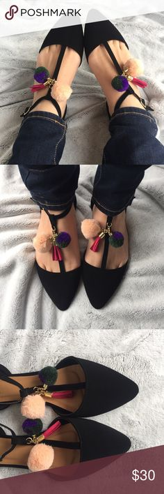 Black T-Strap Flats w/ Pom Pom & Tassel These pretties are a must have. Soft deep black t-straps with cute Pom Pom & tassel accent. Comes in box. Runs true to size.  ✔️If you'd like to MAKE AN OFFER please do so through the offer button ONLY. I won't negotiate prices in the comments.  ✔️All items $15 and under are firm unless BUNDLED.  ❌No trades, PayPal, Holds Instagram: @lovelionessie Shoes Flats & Loafers