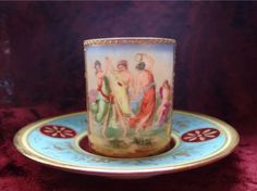 Antique Vienna Hand Painted Miniature Cup Saucer