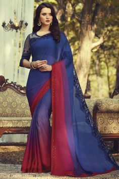 Online Shopping of Party Style Trendy Art Silk Fabric Blue Color Saree With Embroidered Blouse from SareesBazaar, leading online ethnic clothing store offering latest collection of sarees, salwar suits, lehengas & kurtis Designer Sarees Collection, Latest Designer Sarees, Latest Sarees, Red Chiffon, Chiffon Saree, Blue Silk Saree, Silk Sarees, Anarkali, Lehenga