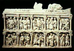 """""""Sarcofago de Junio Basso"""" - es un sarcofago del siglo IV D.C que se encuentra en Roma, esta tallado en marmol y tiene unas medidas de 142 cm de altura y 234 cm de largo. Pertenecio al prefecto Junio Basso de la antigua roma, en el sarcofago estan representadas algunas escenas biblicas tradicionales, como el sacrificio de Isaac o Adan y Eva"""