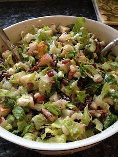 Autumn Chopped Salad (YUMMM!!!!) Pears, cranberries, pecans, turkey bacon, poppy seed dressing...all things I love!!