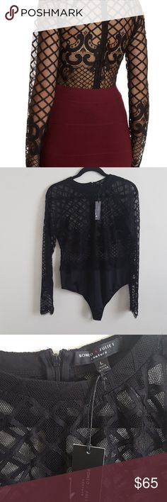 """NWT ROMEO + JULIET COUTURE BODYSUIT NEW, Never worn, no flaws, no holes, no ripes, Beautiful, lace details sheer bodysuit! (I only have the bodysuit, you have to wear something underneath if you want to). Black color, size Large! It has some stretch. Armpit to armpit 19"""" Approx ✔Look at all pictures ✔No trades ✔I ship fast ✔Smoke free house ✔Bundle up for more savings 👉🛍🎁💰👈 Romeo & Juliet Couture Tops"""