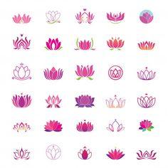 Vector set of lotus icons Lotusblume Tattoo, Unalome Tattoo, Tattoo Blog, Mini Tattoos, Small Tattoos, Water Lily Tattoos, Small Lotus Tattoo, Lotus Flower Art, Tiny Tattoo