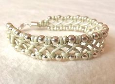 Leather macrame bracelet with sterling silver beads Pale green criss-cross