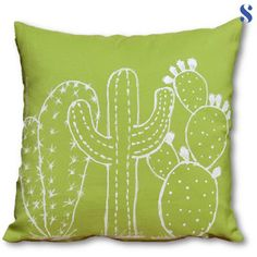 Blue sweater DIY double trend green 038 cactus pillow - The world's most private search engine Cushion Embroidery, Cactus Embroidery, Hand Embroidery, Embroidery Designs, Diy Pillows, Cushions, Throw Pillows, Sewing Crafts, Sewing Projects
