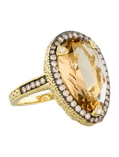 Judith Ripka Citrine and Diamond Ring