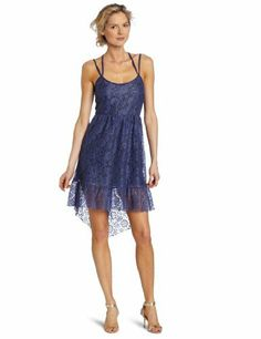 Only Hearts Women's Charlotte Lace Cross Back Tiered Dress, Blue/Violet, Large