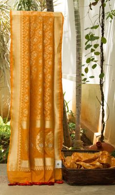 This rich honey-orange Benares Silk comes with exquisite floral zari work across the body, pallu and border. A complementing blouse in honey-orange with zari enhances the sari.