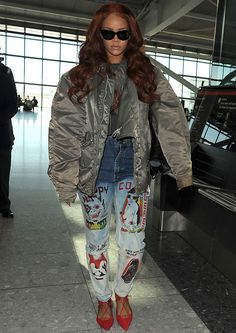 "Rihanna Rocks Aquazzura ""Belgravia"" Flats with Printed Jeans and Bomber Jacket"