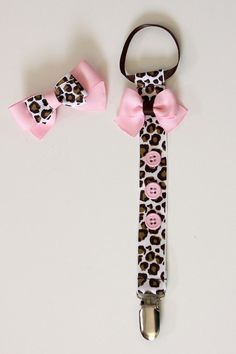 Baby Pink Leopard Pacifier Clip and Matching by DandyMandeline, $8.99