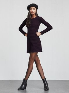 The Sabina Dress is a long sleeve mini dress inspired by Jane Birkin. It's basically the thing to throw on when you want to feel like a leggy babe rolling around France in the 1960s. Word.