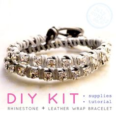 leather wrap rhinestone friendship bracelet DIY KIT: SILVER materials and tutorial