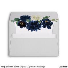 Navy Blue and Silver Elegant Ivory Floral Wedding Envelope Blue Wedding Favors, Spring Wedding Invitations, Wedding Navy, Wedding Stationery, Elegant Wedding, Rustic Wedding, Trendy Wedding, Floral Wedding Envelopes, Blue And Silver