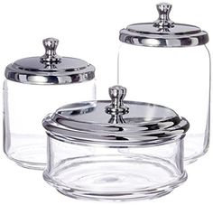 mDesign Bathroom Vanity Glass Apothecary Jars for Cotton Balls, Swabs, Cosmetic Pads - Set, Clear/Chrome - KyrStore Bathroom Jars, Bathroom Vanity Storage, Cream Bathroom, Vanity Tray, Bathroom Rug Sets, Bathroom Accessories Sets, Bathrooms, Bathroom Ideas, Glass Apothecary Jars