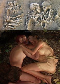 "3D reconstruction of the position of the ""Lovers of Valdaro"", two fossilized skeletons (a man and a woman) dating back to 6000 years ago, discovered by archaeologists at a Neolithic tomb in S.Giorgio near Mantova, Italy, in 2007."