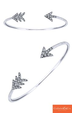This beautiful 925 Silver White Sapphire Cuff Bangle by Gabriel & Co. is a must have for Thanksgiving and the other winter holidays coming up! This bangle will look absolutely stunning paired along with any of our other bangles to have a beautiful stack for the holidays. Winter is always about giving the best gifts.. and Gabriel & Co. has them!