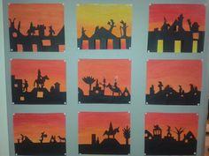 Gemaakt door groep 8. Mooie achtergrond verven. Silhouet uit zwart papier knippen.