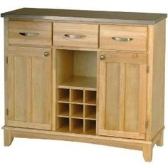 Home Styles Furniture Large Natural Base and Stainless Steel Top Buffet Kitchen Island