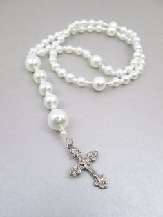 White Pearl Rosary by Beautifyyou on Etsy