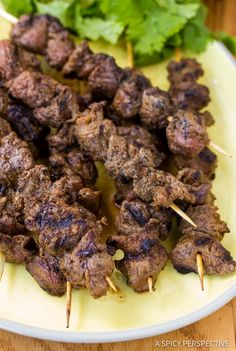 """Easy """"Street Meat"""" Grilled Lamb Kebabs with Chinese and Middle-Eastern flavors. Reminiscent of the market street kebabs we ate in North-Western China."""