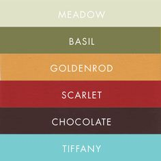 fall color palette. take away the tiffany, meadow, and basil and add golden yellow and a purple