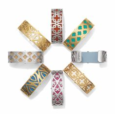 These narrow cuff bracelets include a reversible leather band with two colors. Wear it with either color, or alone -- go sleek!
