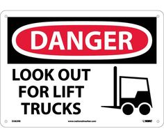 Danger, LOOK OUT FOR LIFT TRUCKS, GRAPHIC, 10X14, Rigid Plastic Lifted Trucks Quotes, Truck Quotes, Machine Parts, Warning Signs, Heavy Equipment, Adhesive Vinyl, Workplace, Ps, Safety