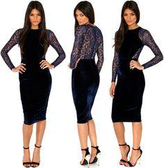 Women Sexy Evening Blue Lace Velvet Midi Bodycon Dress Party Pencil Dress
