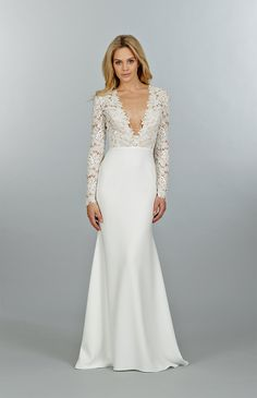 Long Sleeve Wedding Dress 21 Ridiculously Stunning Long Sleeved Wedding Dresses: This lovely v-necked, long-sleeved creation hails from Tara Keely's Fall 2014 collection, designed by Lazaro Perez. Lace Wedding Dress With Sleeves, Long Sleeve Wedding, Dresses With Sleeves, Lace Sleeves, Sleeve Dresses, Lace Dress, 2015 Wedding Dresses, Wedding Gowns, Bridesmaid Dresses