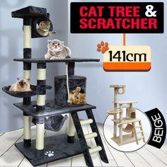 Cat Scratching Post Tree Gym House Scratcher Pole Furniture Toy 1.41M BLACK AU