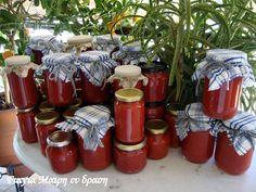 Ντοματοπολτός σε βαζάκια7 Homemade Dressing, Preserving Food, Preserves, Salsa, Recipies, Frozen, Food And Drink, Gift Wrapping, Canning