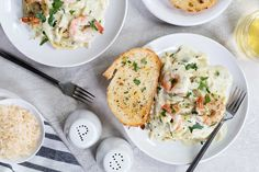 Creamy Pesto Shrimp Pasta combines butter, cream, parmesan and basil pesto to create a delightful pasta dish that's perfect any night of the week. Creamy Pesto Pasta, Pesto Shrimp, Shrimp Pasta, Nightshade Free Recipes, Fish And Seafood, Main Meals, Tasty Dishes, Stuffed Mushrooms, Basil