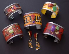 Bracelets and earrings by Kit Carson. Recycled steel, 18K and 22K gold, gemstones