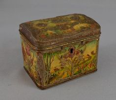 1890's ART NOUVEAU ANTIQUE IMPERIAL RUSSIAN PAINTED TEA LITHO TIN BOX CONTAINER