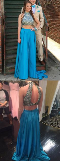 Blue Prom Dresses Two Piece, Long Formal Dresses A-line, 2018 Party Dresses High Neck Satin, Crystal Detailing Open Back Evening Gowns Modest