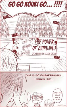 emperor x coward/ Akashi leading the cheering section for Furihata. LMAO that poster XD