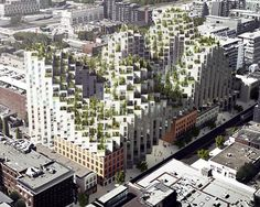 Aerial view looking southwest of King Street West by BIG Architects for Westbank and Allied REIT
