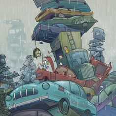 Olympus Junkyard Illustration Art by AndrewPaavola on Etsy, $275.00