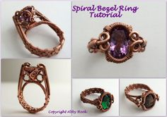 Spiral Bezel Ring, Wire Jewelry Tutorial, Instant Download PDF File