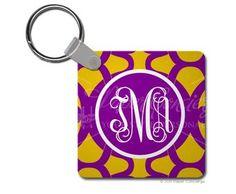 Purple/Yellow Ribbon Keychain