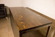 Industrial style steel and wood desk