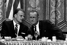 Billy Graham and Lyndon Johnson at the National Prayer Breakfast.