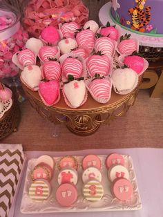 Pink desserts at a floral baby shower party! See more party planning ideas at CatchMyParty.com!