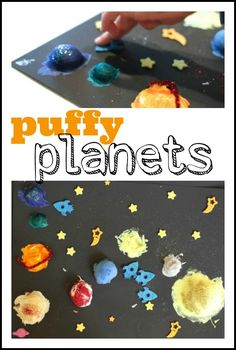 Make 3D planets with shaving cream and a little glue!
