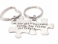 You Are My Missing Piece You Fit Me Perfectly-puzzle, piece his and her key chain set, personalized keychains, matching couple, anniversary, hand stamped by MissAshleyJewelry