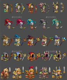 25 RGP Game Characters - Sprites Game Assets